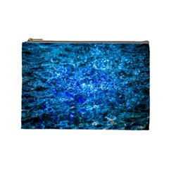 Water Color Navy Blue Cosmetic Bag (large)  by FunnyCow