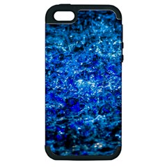 Water Color Navy Blue Apple Iphone 5 Hardshell Case (pc+silicone) by FunnyCow