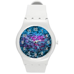 Water Color Violet Round Plastic Sport Watch (m) by FunnyCow