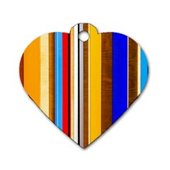 Colorful Stripes Dog Tag Heart (one Side) by FunnyCow