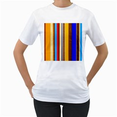 Colorful Stripes Women s T Shirt (white)  by FunnyCow