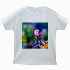 Pink Rose Flower Kids White T Shirts by FunnyCow