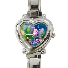 Pink Rose Flower Heart Italian Charm Watch by FunnyCow
