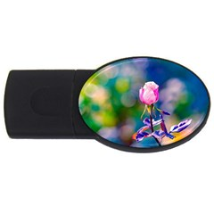 Pink Rose Flower Usb Flash Drive Oval (4 Gb) by FunnyCow