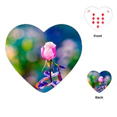 Pink Rose Flower Playing Cards (heart)  by FunnyCow