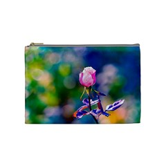 Pink Rose Flower Cosmetic Bag (medium)  by FunnyCow