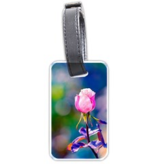 Pink Rose Flower Luggage Tags (one Side)  by FunnyCow