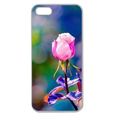 Pink Rose Flower Apple Seamless Iphone 5 Case (clear) by FunnyCow