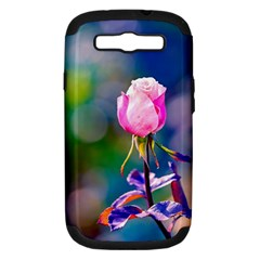 Pink Rose Flower Samsung Galaxy S Iii Hardshell Case (pc+silicone) by FunnyCow