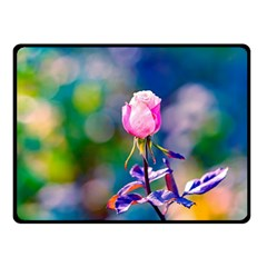 Pink Rose Flower Double Sided Fleece Blanket (small)  by FunnyCow