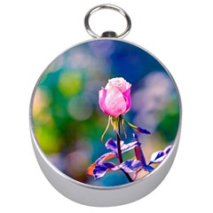Pink Rose Flower Silver Compasses by FunnyCow