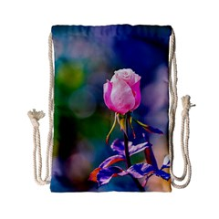 Pink Rose Flower Drawstring Bag (small) by FunnyCow