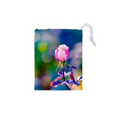 Pink Rose Flower Drawstring Pouches (xs)  by FunnyCow