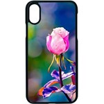 Pink Rose Flower Apple iPhone X Seamless Case (Black) Front