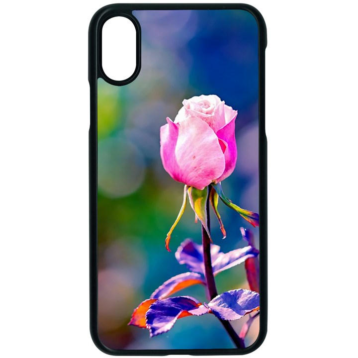 Pink Rose Flower Apple iPhone X Seamless Case (Black)