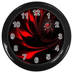 Abstract Curve Dark Flame Pattern Wall Clocks (black) by Nexatart