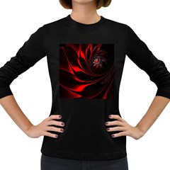 Abstract Curve Dark Flame Pattern Women s Long Sleeve Dark T Shirts