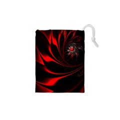 Abstract Curve Dark Flame Pattern Drawstring Pouches (xs)  by Nexatart