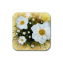 Summer Anemone Sylvestris Rubber Square Coaster (4 Pack)  by Nexatart