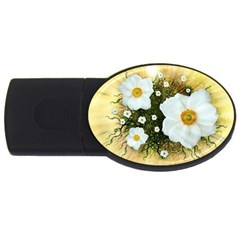 Summer Anemone Sylvestris Usb Flash Drive Oval (4 Gb)