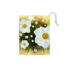 Summer Anemone Sylvestris Drawstring Pouches (small)