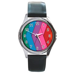 Abstract Background Colorful Strips Round Metal Watch by Nexatart