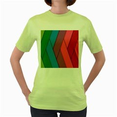 Abstract Background Colorful Strips Women s Green T-shirt by Nexatart