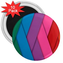 Abstract Background Colorful Strips 3  Magnets (10 Pack)  by Nexatart