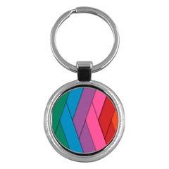 Abstract Background Colorful Strips Key Chains (round)  by Nexatart