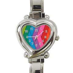 Abstract Background Colorful Strips Heart Italian Charm Watch