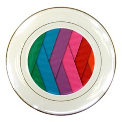 Abstract Background Colorful Strips Porcelain Plates by Nexatart
