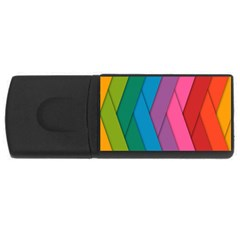 Abstract Background Colorful Strips Rectangular Usb Flash Drive by Nexatart