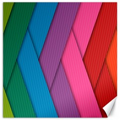 Abstract Background Colorful Strips Canvas 12  X 12   by Nexatart