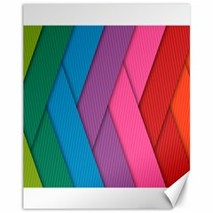Abstract Background Colorful Strips Canvas 11  X 14   by Nexatart