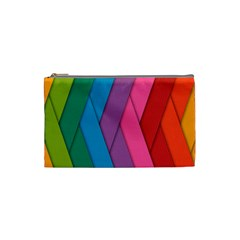 Abstract Background Colorful Strips Cosmetic Bag (small)  by Nexatart