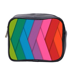 Abstract Background Colorful Strips Mini Toiletries Bag 2 Side by Nexatart