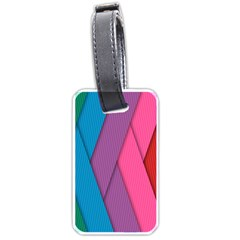 Abstract Background Colorful Strips Luggage Tags (one Side)  by Nexatart
