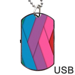 Abstract Background Colorful Strips Dog Tag Usb Flash (two Sides) by Nexatart