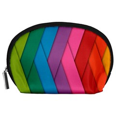 Abstract Background Colorful Strips Accessory Pouches (large)  by Nexatart
