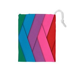 Abstract Background Colorful Strips Drawstring Pouches (medium)  by Nexatart