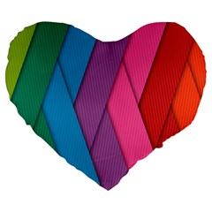 Abstract Background Colorful Strips Large 19  Premium Flano Heart Shape Cushions by Nexatart