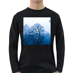 Nature Inspiration Trees Blue Long Sleeve Dark T-shirts by Nexatart