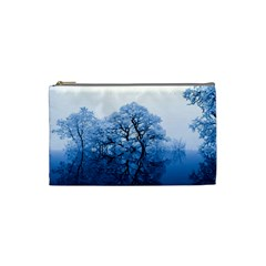 Nature Inspiration Trees Blue Cosmetic Bag (small)
