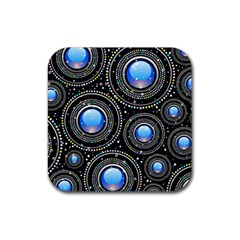 Background Abstract Glossy Blue Rubber Square Coaster (4 Pack)