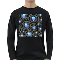 Background Abstract Glossy Blue Long Sleeve Dark T Shirts