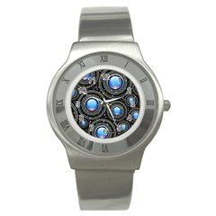 Background Abstract Glossy Blue Stainless Steel Watch
