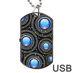 Background Abstract Glossy Blue Dog Tag Usb Flash (two Sides)