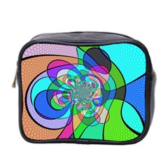 Retro Wave Background Pattern Mini Toiletries Bag 2 Side