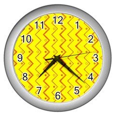 Yellow Background Abstract Wall Clocks (silver)  by Nexatart