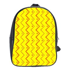 Yellow Background Abstract School Bag (large)